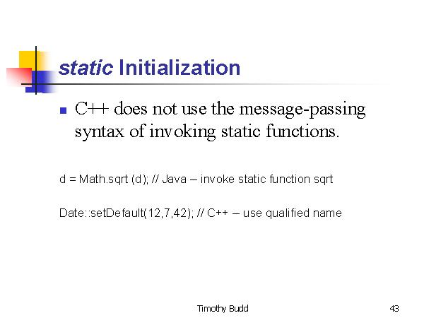 static Initialization